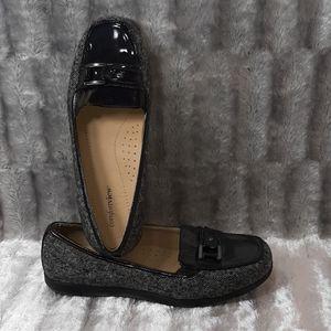 """11WW Comfortview Brown Tweed Loafer 1"""" Wedge"""